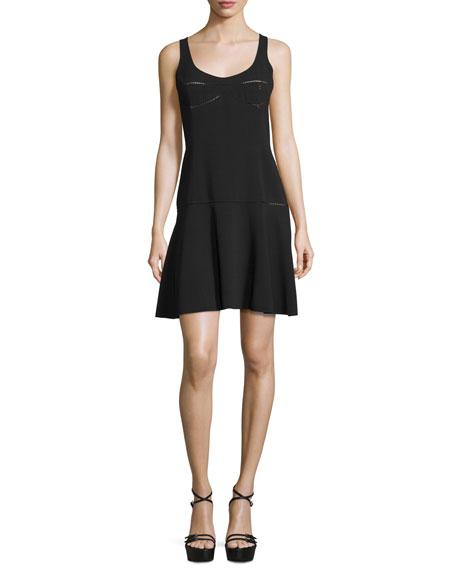 Michael Kors Sleeveless Fit-&-Flare Dress, Black