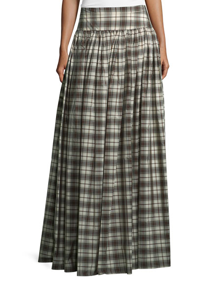 Michael Kors Banded-Waist Plaid Hostess Skirt, Muslin/Black