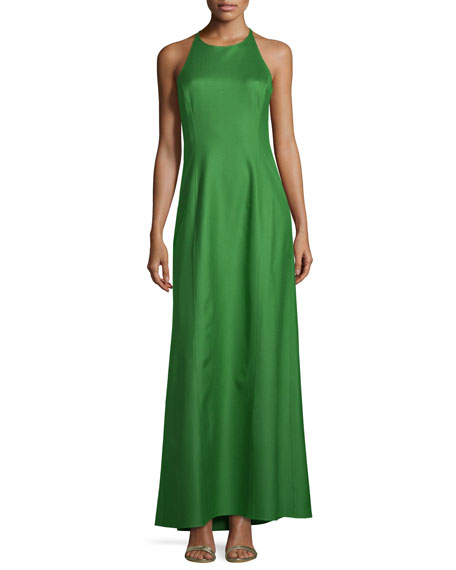 Michael Kors Collection Halter-Neck Sleeveless Silk Gown, Lawn
