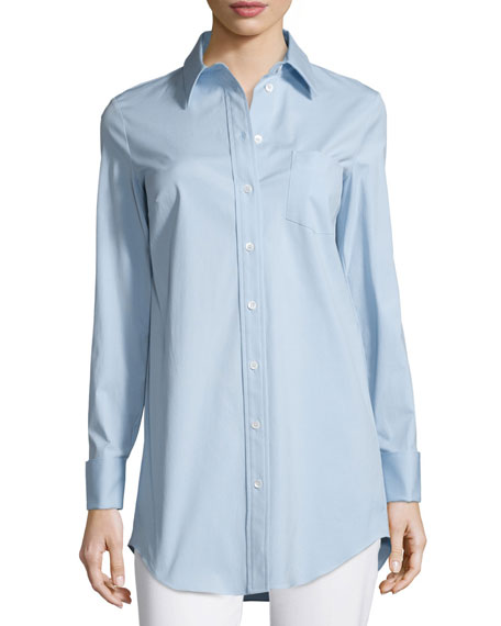 Michael Kors CollectionFrench-Cuff Patch-Pocket Blouse