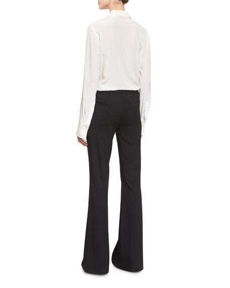 Mid-Rise Flat-Front Flare Pants, Black
