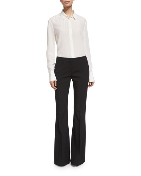 Michael Kors Collection Mid-Rise Flat-Front Flare Pants, Black