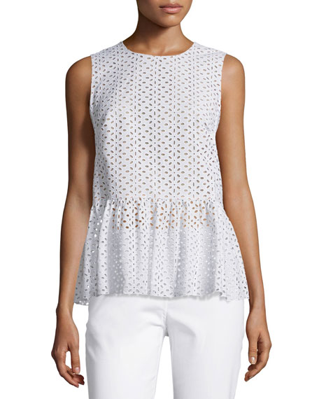 Michael Kors CollectionSleeveless Eyelet Peplum Top, Optic White