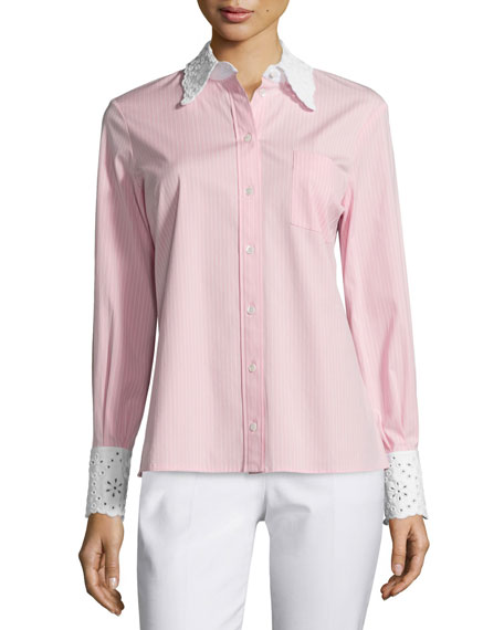 Michael Kors CollectionStriped Shirt W/Embroidered Eyelet-Trim,