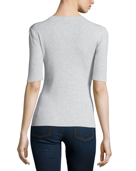 Half-Sleeve Round-Neck Henley Shirt, Pearl Gray