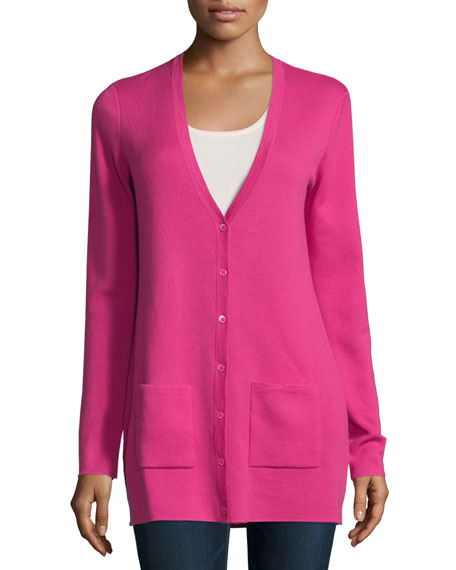 Michael Kors Collection Button-Front Cashmere Cardigan W/Pockets, Geranium