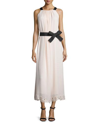 Sleeveless Silk Lace-Trim Midi Dress, Antilles Bubbles