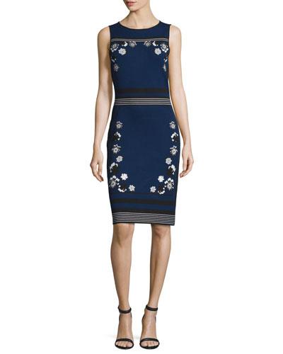 sleeveless knit intarsia sheath dress, new navy