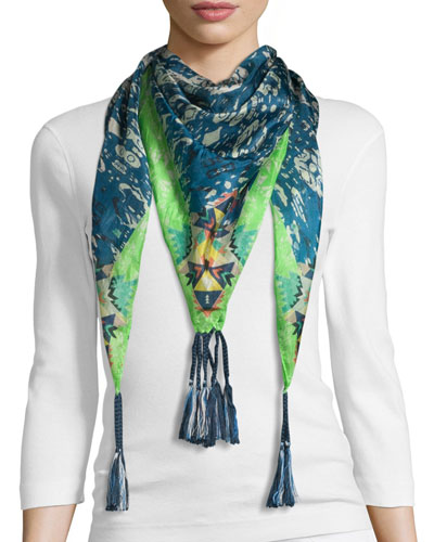 Puente Printed Silk Tassel Scarf, Multi Colors