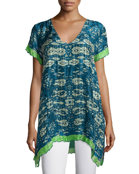 Puente V-Neck Printed Tunic W/Contrast Trim. Multi Colors