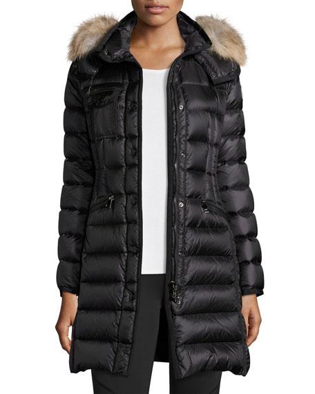 Hermifur Snap-Front Puffer Coat, Black