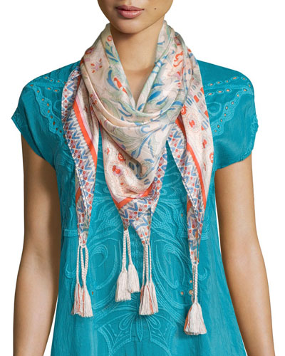 Sharee Printed Silk Tassel Scarf, Coral/Multi