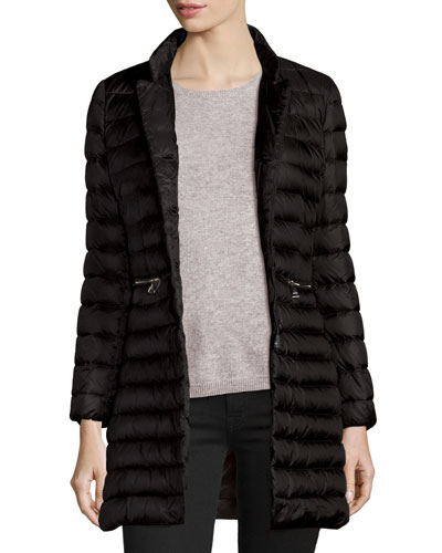 Anjony Long Button-Front Puffer Jacket, Black