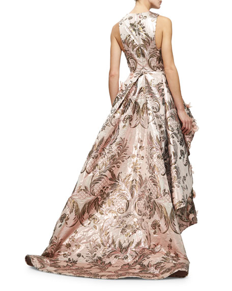 Sleeveless Metallic-Tapestry High-Low Gown, Blush