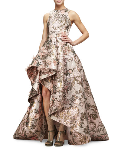 Sleeveless Metallic-Tapestry High-Low Gown, Blush