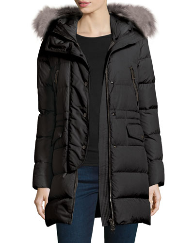 Fragonette Quilted Puffer Coat w/Detachable Fur Hood, Black