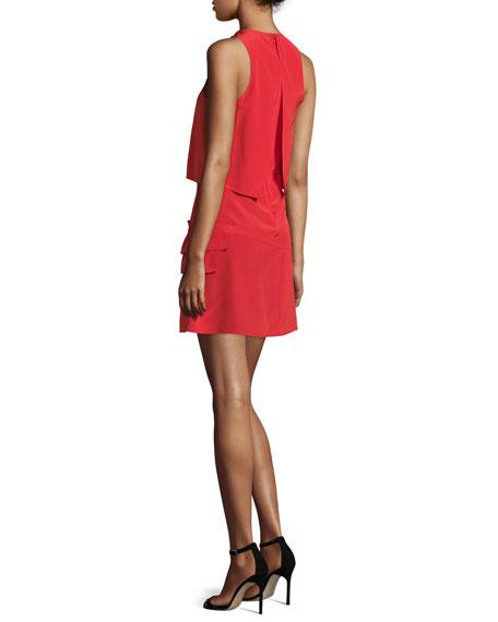 Sophia Sleeveless Silk Popover Dress, Cadmium Red