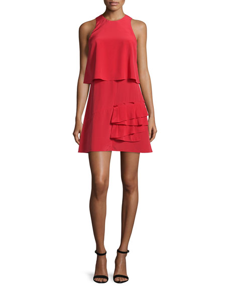 Tibi Sophia Sleeveless Silk Popover Dress, Cadmium Red