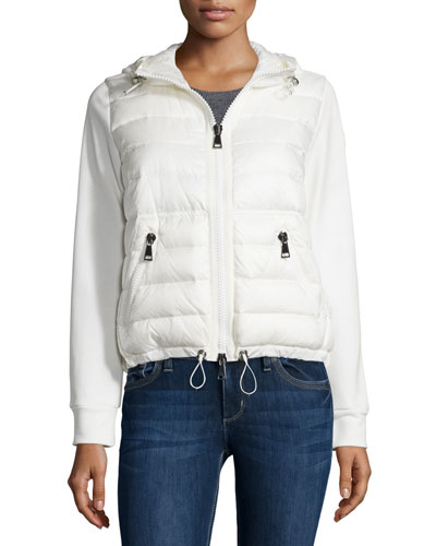 Hooded Knit Puffer-Front Cardigan, White