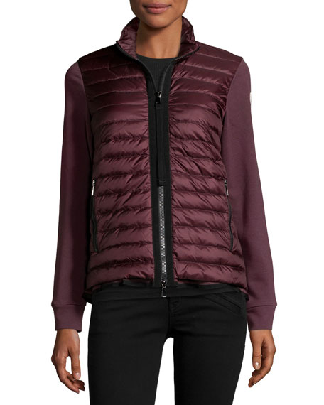 Maglia Jersey Puffer-Front Cardigan