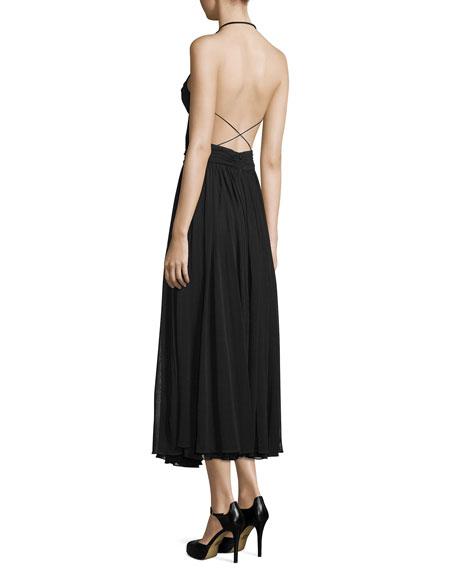 Cutout Maillot Midi Dress, Black