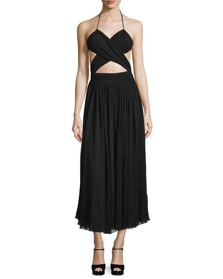 Michael Kors Cutout Maillot Midi Dress, Black