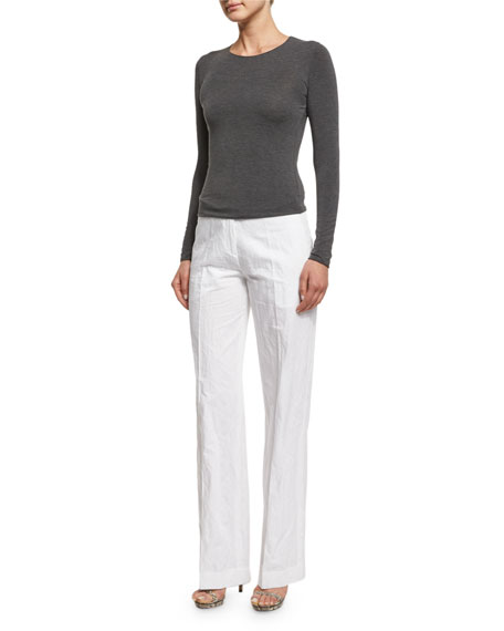Michael Kors Mid-Rise Flare-Leg Trousers, Optic White