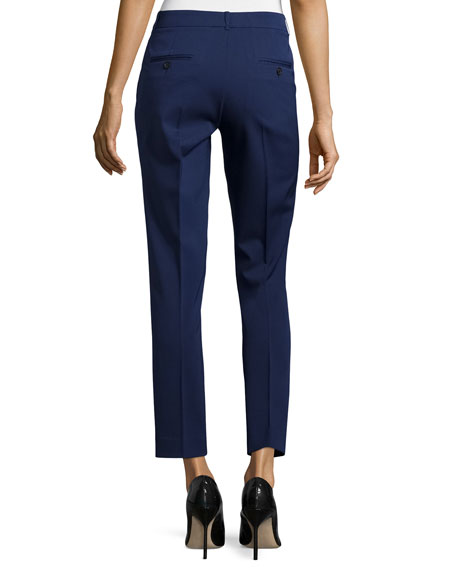 Skinny-Leg Stretch Cropped Dress Pants, Natural