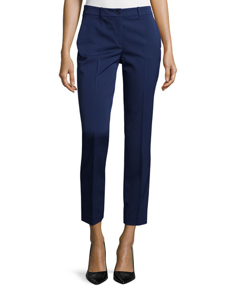 Michael Kors Collection Skinny-Leg Stretch Cropped Dress Pants, Natural