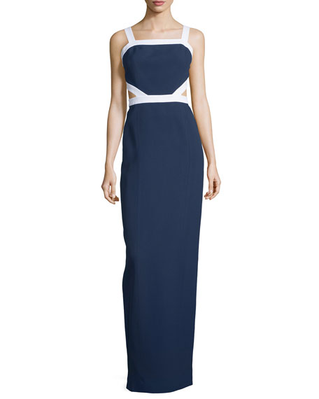 Michael Kors Collection Sleeveless Colorblock Column Gown, Indigo