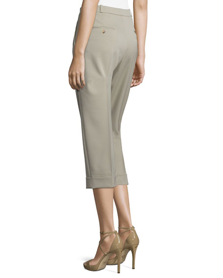 Pleated-Front Slouch Capri Pants, Sand