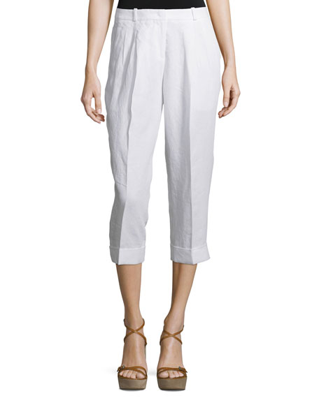 Michael Kors Collection Mid-Rise Slouchy Capri Pants, Optic