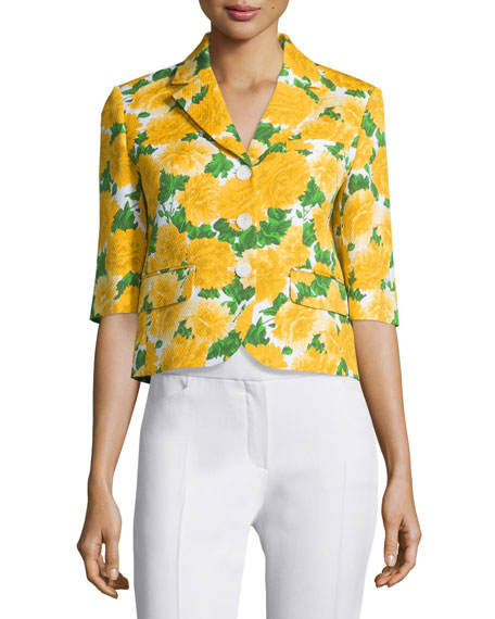 Michael Kors Collection Floral-Print Schoolboy Blazer, White/Daffodil