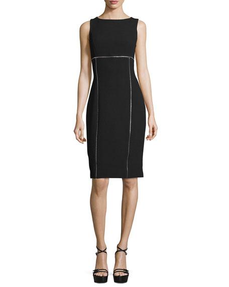 Michael Kors Collection Sleeveless Contrast-Piping Sheath Dress, Black
