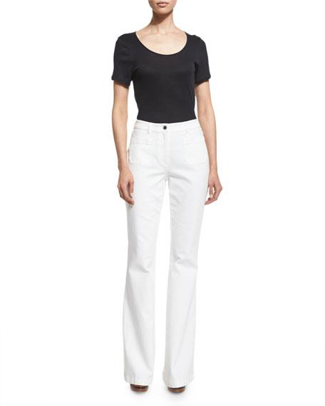 Michael Kors High-Waist Bell-Bottom Jeans, Optic White