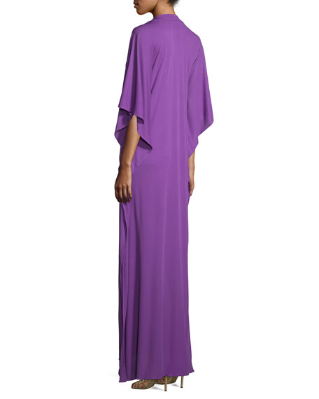 3/4-Sleeve Button-Front Caftan, Lilac