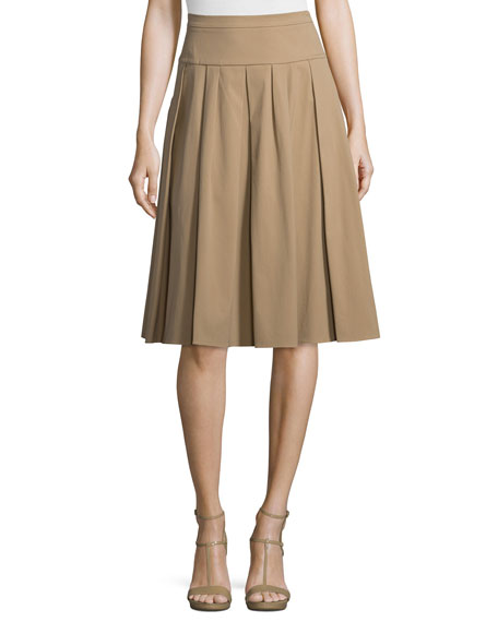 Michael Kors Collection Drop-Waist Pleated Skirt, Fawn