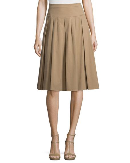 Michael Kors Collection Drop-Waist Pleated Skirt, Fawn