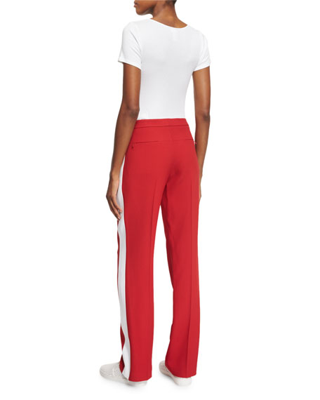 Mid-Rise Straight-Leg Track Pants, Crimson