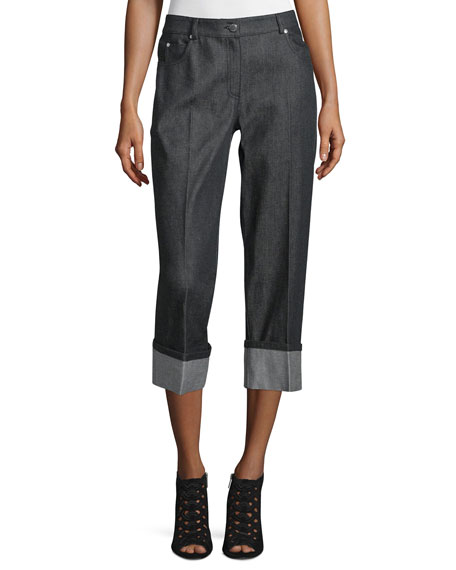 Michael Kors Collection Straight-Leg Cuffed Denim Jeans, Black