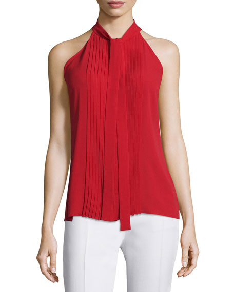 Michael Kors Collection Tie-Neck Pleated-Front Sleeveless Top,