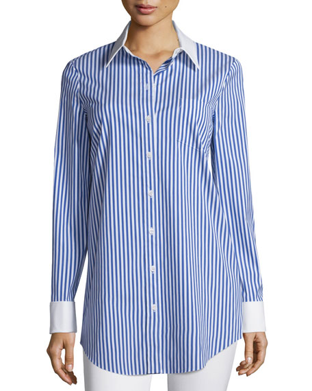 Michael Kors Collection Contrast-Collar Button-Front Striped Long