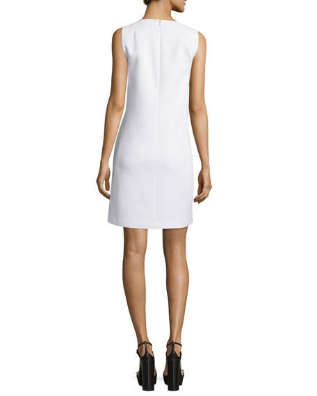 Sleeveless Leather-Trim Shift Dress, White