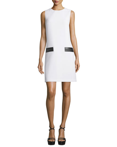 Michael Kors Collection Sleeveless Leather-Trim Shift Dress,