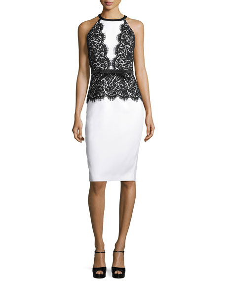 Michael Kors Collection Halter-Neck Lace-Bodice Dress, Optic