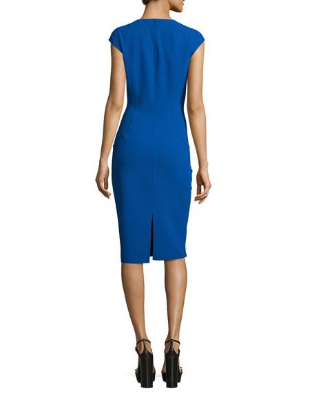 Cap-Sleeve Stitch-Seam Sheath Dress, Cobalt