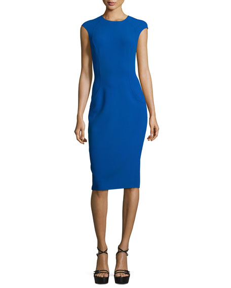 Michael Kors Collection Cap-Sleeve Stitch-Seam Sheath Dress, Cobalt