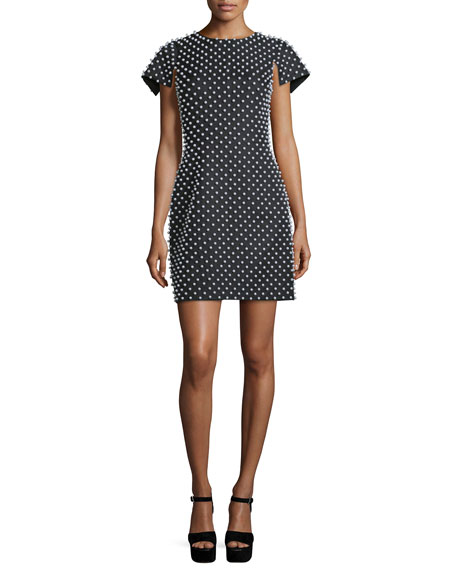 Michael Kors Collection Pearl-Embellished Short-Sleeve Sheath