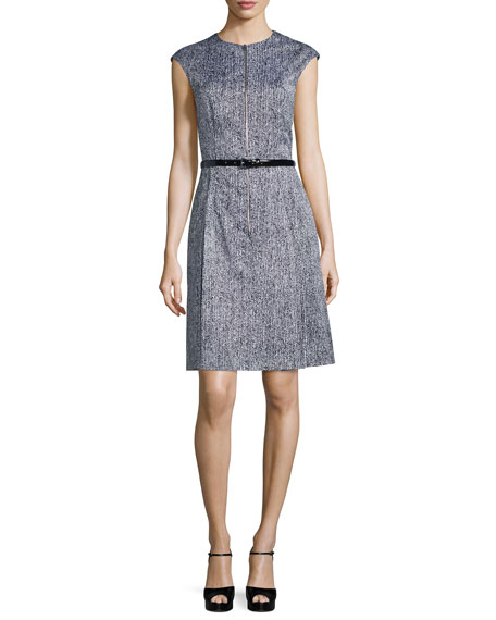 Michael Kors Collection Cap-Sleeve Belted A-Line Dress, Optic