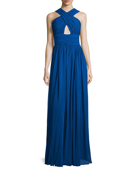 Michael Kors Collection Cross-Front Cutout Gown, Cobalt